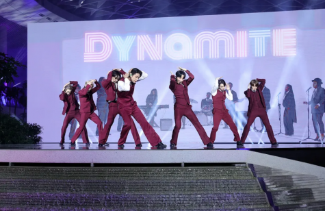 """Korean group BTS delivers a memorable performance of their latest hit, """"Dynamite"""", at the Billboard Awards live from South Korea. They were nominated for and won Most Social Artist for the fourth year in a row."""