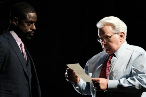Leo McGarry, Chief of Staff, and President Bartlet gather to discuss an important document. Bartlet is played by Martin Sheen, and Sterling K. Brown is filling in for John Spencer who originally played Leo, but unfortunately passed away before the special was filmed. Photo courtesy of Los Angeles Times.