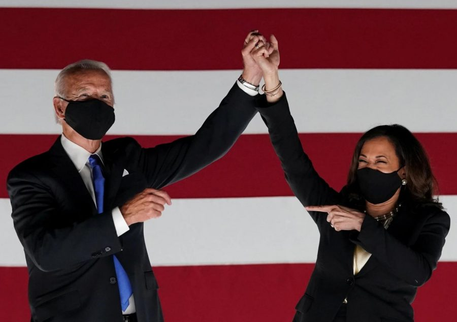 Joseph R. Biden and Kamala D. Harris celebrate during the 2020 Democratic National Convention. The convention was held in August and featured several high-profile politicians such as Hillary Clinton and Barack Obama. Photo courtesy of CNBC.