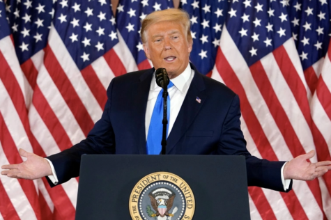 President Donald J. Trump addresses a crowd the day after the election, Nov. 4. Trump and his legal team filed a series of challenges questioning the authenticity of the 2020 presidential election. Photo courtesy of Evan Vucci/AP.