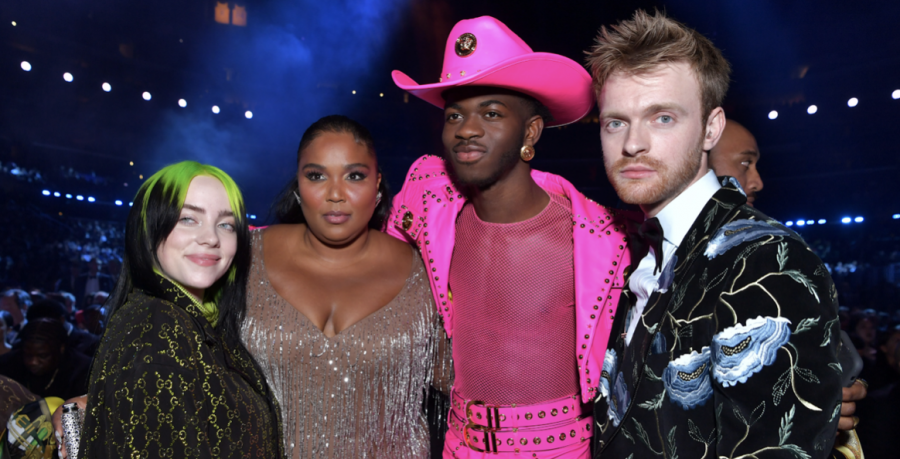 Billie Eilish, Lizzo, Lil Nas X and FINNEAS eagerly wait backstage at the 2020 Grammys before accepting their awards. Eilish (far left) took home five Grammys in one year, including the four biggest categories. Photo courtesy of Emma McIntyre/Recording Academy.
