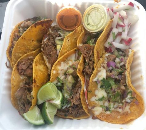 Carlesimo's Birria tacos look delicious in a grab-and-go box. Carlesimo and her friend Kyle Duong drove to Portland, Ore. to pick up some good food over Spring Break.